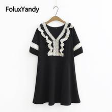 Женское кружевное платье с оборками повседневное мини коротким