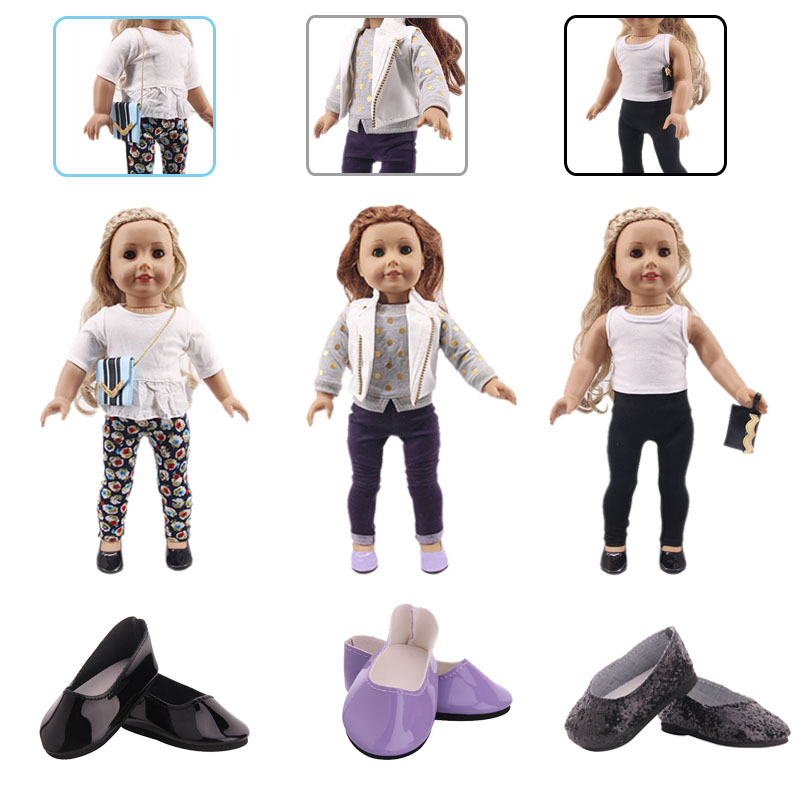 Doll Clothes 3Pcs/Set Coat/Bag+T-shirt+Pants For For 18 Inch American&43 Cm Baby New Born Doll Generation Birthday Girl`s Toy