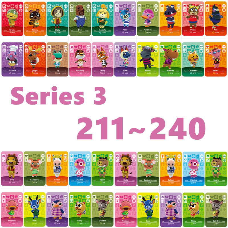 Animal Crossing Card Nfc Amiibo Card Work For NS Games Series 3 For Nintend Switch And Switch Lite (211 To 240)