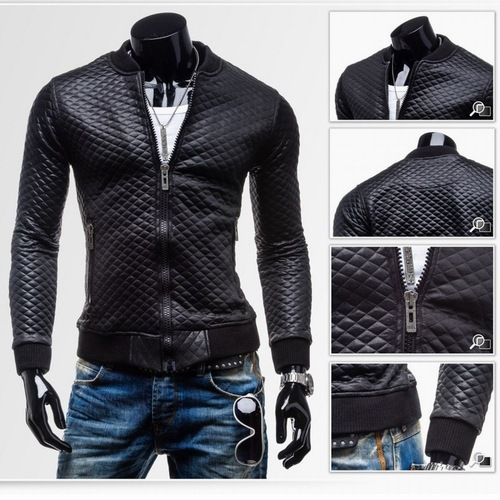 Autumn And Winter New Style Men Slim Fit Plaid Thick Quilted Short Leather Coat Casual Stand Collar Washing Locomotive Leather C