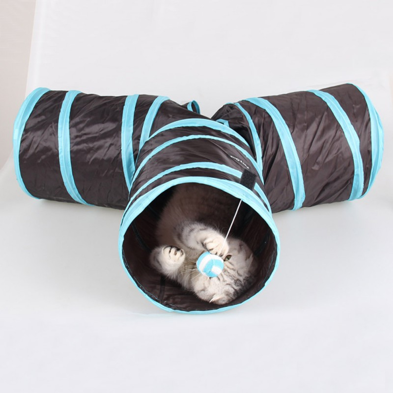 Pet Puzzle Toy Cat Toys Kitten Pet Cat Tunnel 3 Holes Folding Folding Cat Toy Tunnel Toy With Ball For Kittens 2019 image