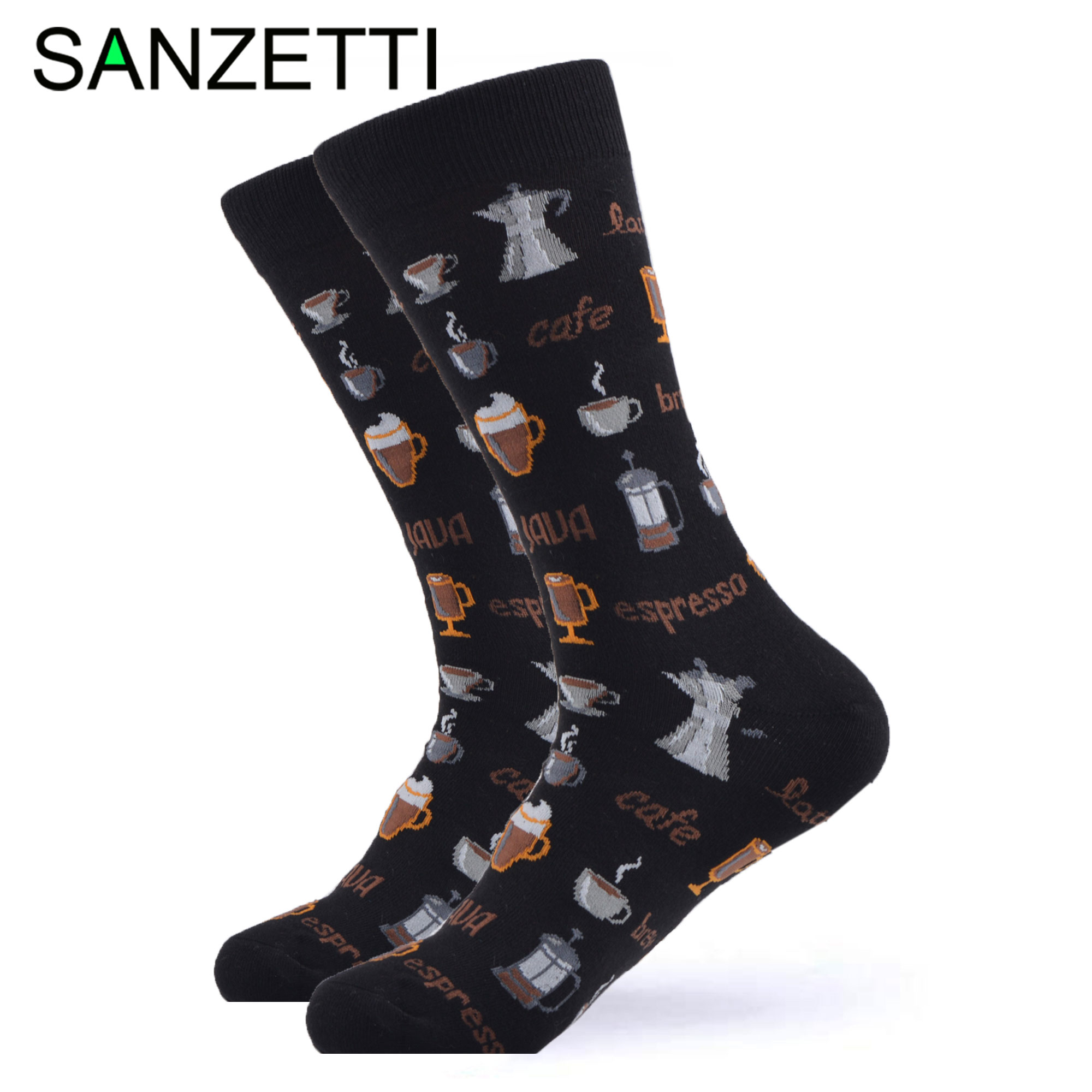 SANZETTI 1 Pair Happy Socks High Quality Men Colorful Combed Cotton Coffee Breakfast Fries Cheese Bacon Gift Wedding Dress Socks