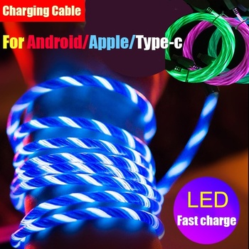 2M LED Lighting Micro USB Cable Type C Charging Wire USB C Phone Charger cable for iPhone 7 8 Samsung S10 Xiaomi 9 10 Redmi 7 8 hdsail led light cable fast charging micro usb type c cable led wire cord type c charger for iphone 7 8 xs max samsung s10 s9 s8