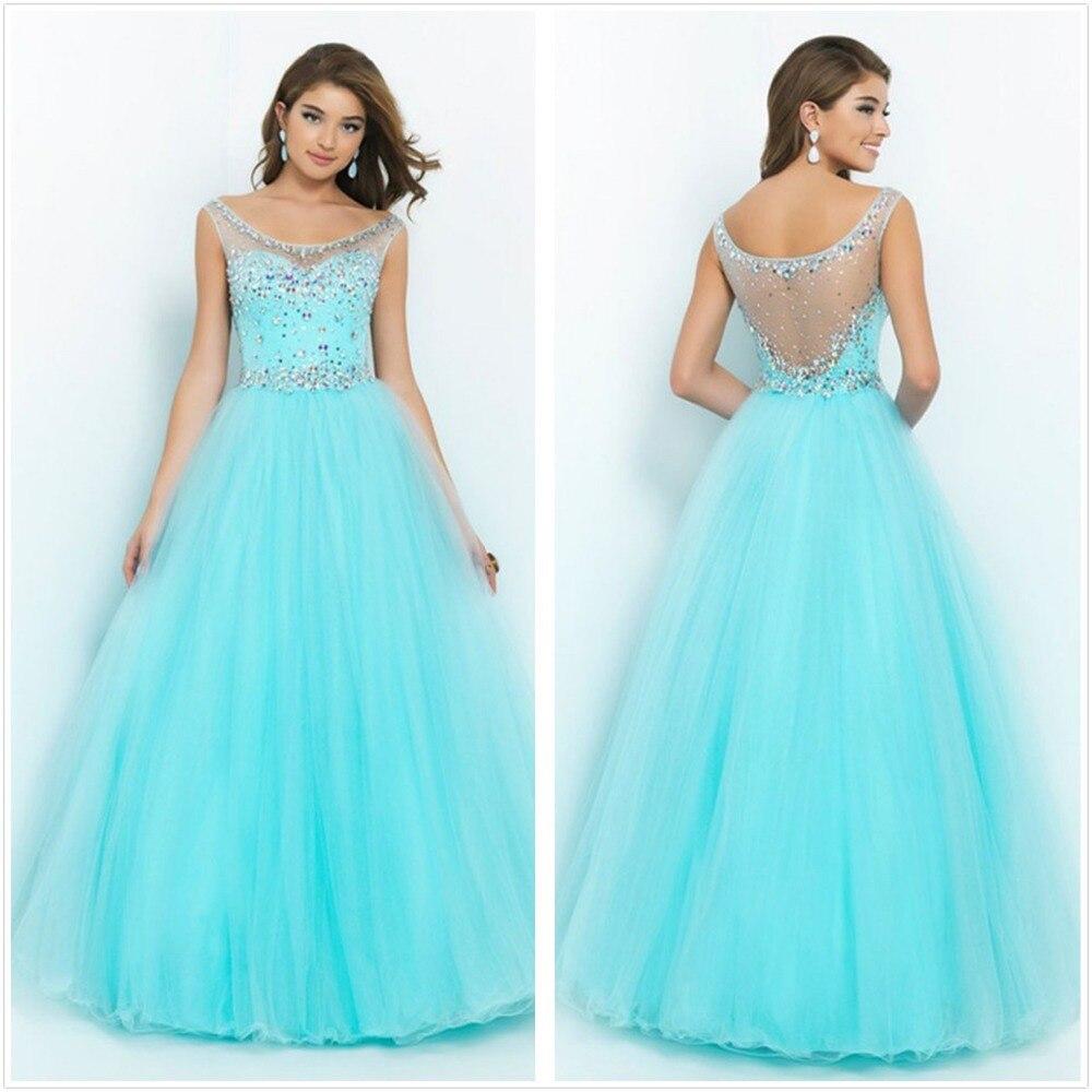Unique Crystal Vestido De Noiva Scoop Neck 2018 Long Evening Prom Gowns A-Line Hollow Back Pageant Mother Of The Bride Dresses