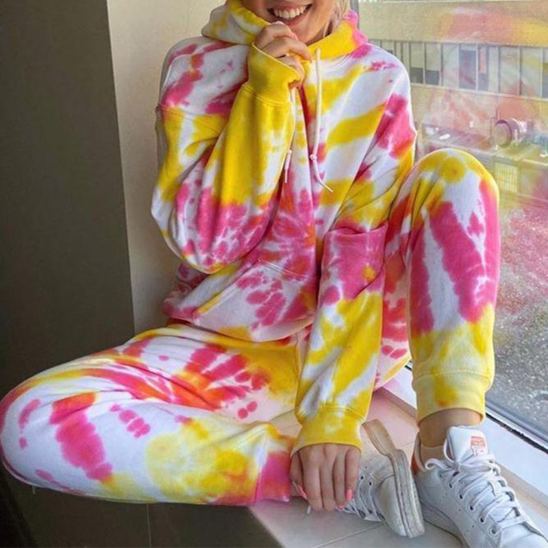 Autumn Tie dye Printed Jogging Suits for Women Two Pieces Tracksuit Sets Hoodies 2 piece Casual Front Pocket Female Sweatsuit