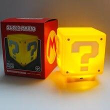USB de Carregamento LED ponto de Interrogação Luz Noturna Super Mario Jogo da Noite das Crianças Quarto Casa Cubo Turn Table Lamp Lampara presente