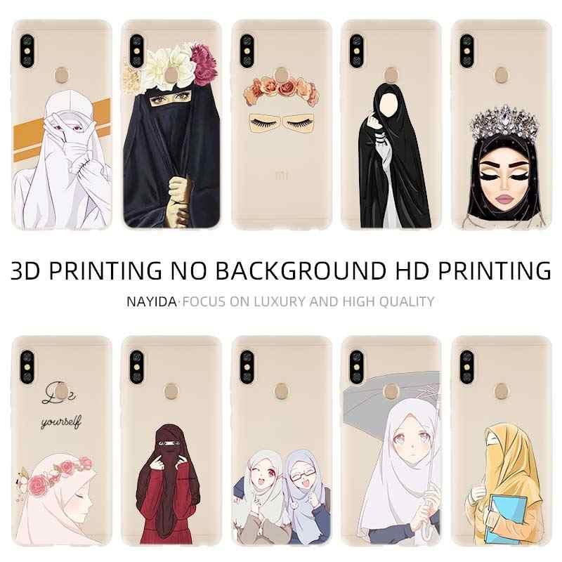 Moda suave cubierta de la caja del TPU del Coque Xiaomi Redmi 4X 4A 6A 7a Y3 K20 5 Plus Nota 8 7 6 5 pro musulmana mujer islámica Gril