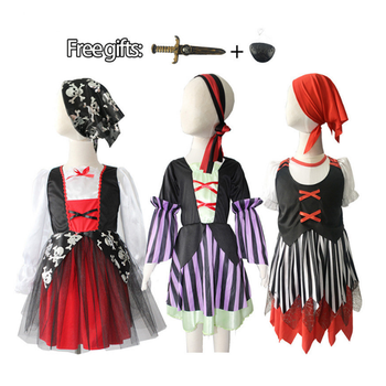 Kids Pirate Cosplay Costume Halloween Set Birthday Party Cloak Outfit Christmas Dress Girl Boys