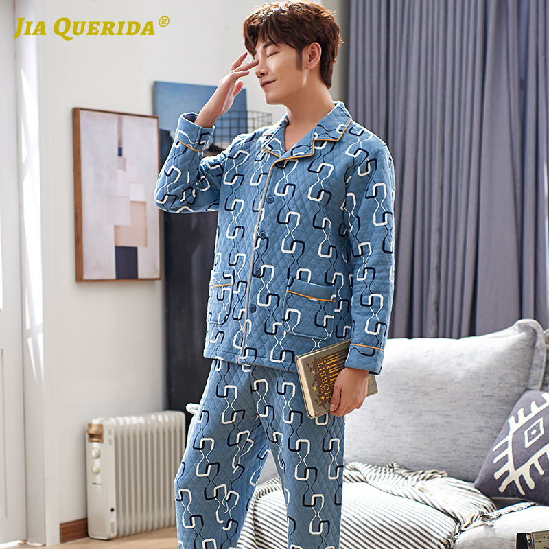 New Men Pijama Long Sleeves Pants Pajamas Set For Men Winter&spring 100%cotton 3 Layers Turn-down Collar Blue Pocket Mens Pyjama