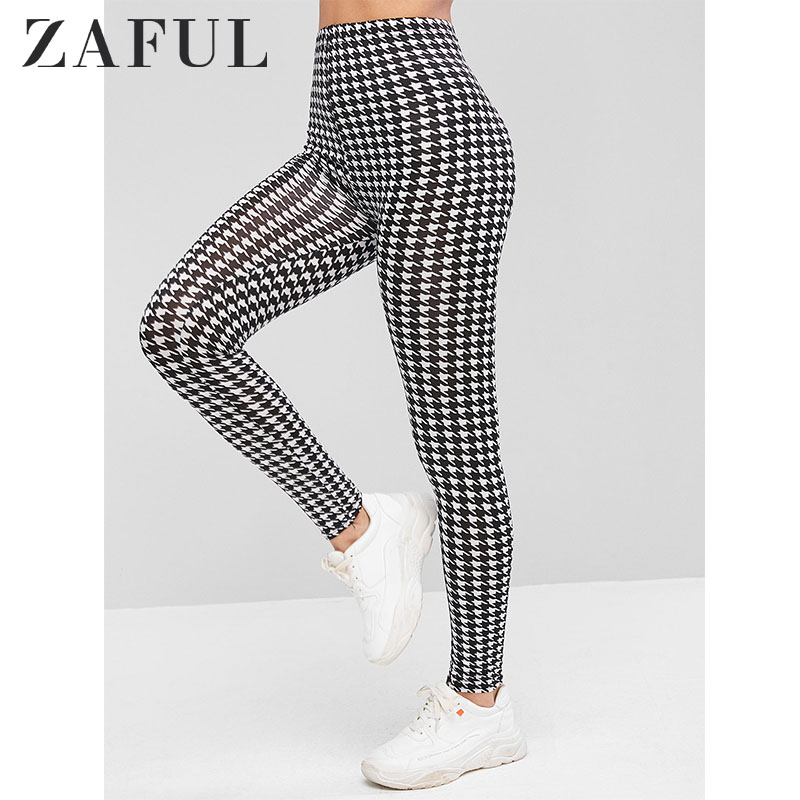 ZAFUL Houndstooth Print High Waist Leggings 2019 Autumn Modern Lady Fitness Leggins Highstreet Women Pants Trousers Streetwear