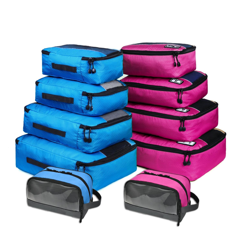 Soperwillton Travel Bag Packing Cubes Toiletry Bags Set For Men Women Nylon 4 5 10 Pieces Travel Luggage Organizer Set