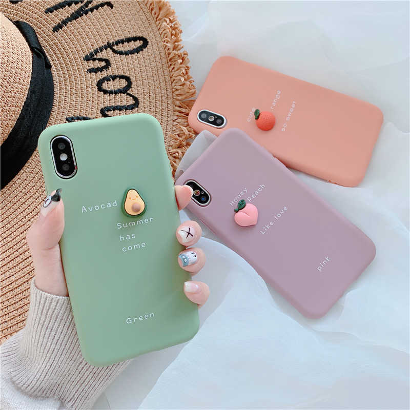 Lovely Cute 3D Pattern Phone Case For iPhone XS Max XR X 8 7 6 6S Plus Lovely Fruit Avocado Soft Silicone Anti-konck Back Cover