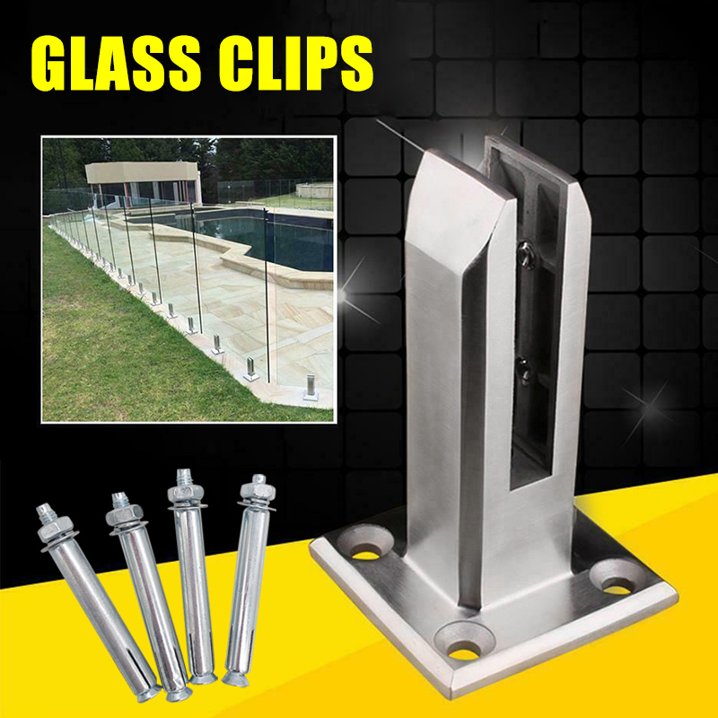 Stainless Heavy Duty Steel Glass Pool Fence Clip Floor Glass Stand Fixed Fittings Clamp DC156