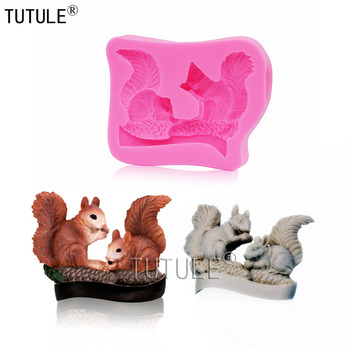 Squirrel with Acorn Silicone Rubber Flexible Food Safe Mold resin clayfondant cake decor candy chocolate Squirrel witha nut mold image