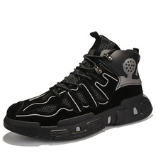 New Men Casual Shoes High Top Lac-Up Men Shoes Winter Fashion Clunky Sneaker Casual Platform High Heel Dad Shoes