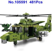 481pcs ww2 world war ii military armed helicopter with 3  building blocks Toy