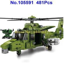 Helicóptero armado militar de la Segunda Guerra Mundial, juguete de bloques de construcción, 481 Uds.