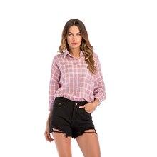Elegant women pink check shirt lapel Raglan sleeve tops 2019 new autumn v neck office ladies leisure blouses female large size guy degrenne блюдо сервировочное vegetal 43х26 5 см 141839 guy degrenne
