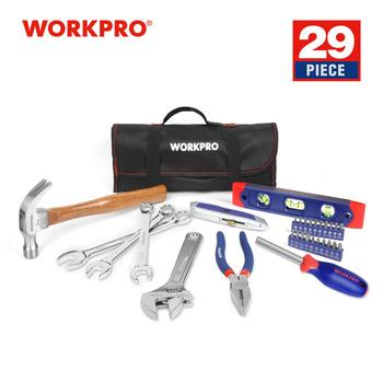 WORKPRO 29PC Home Tool Set Metric Hand Tools Plier Knife Screwdriver Wrench Hammer Metric Tools Roll Bag