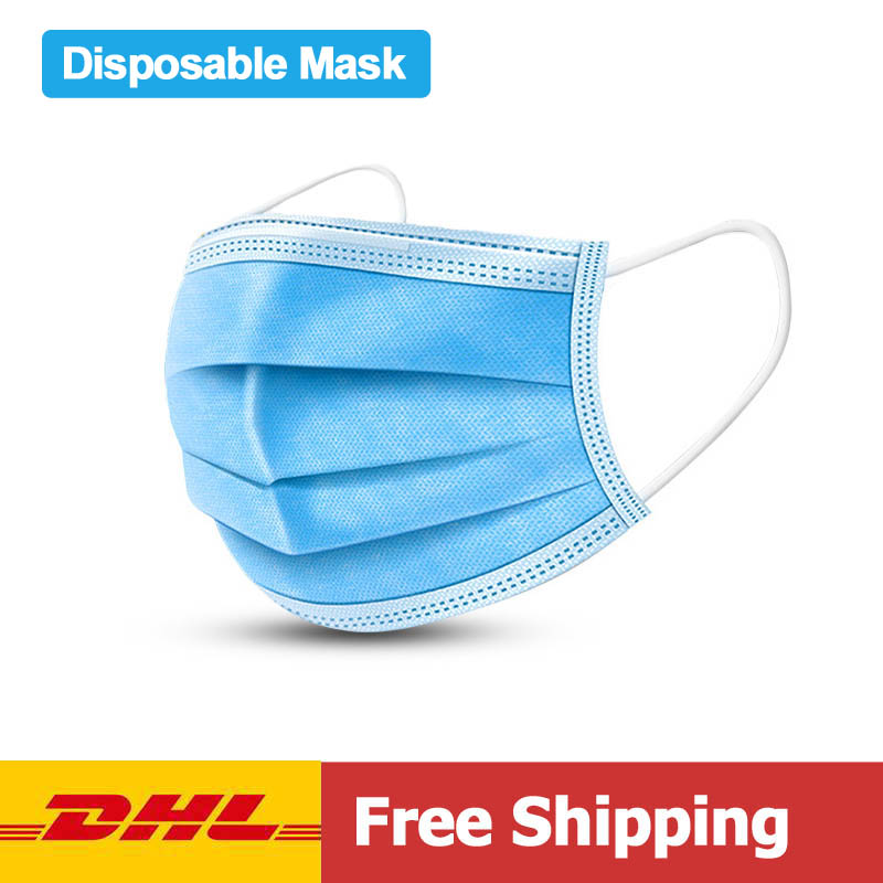 DHL Free Shipping Disposable Face Masks 3 Layes Anti-Pollution Mask Dust Protection One Time Mount Mask For Men Women
