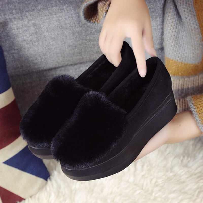 Zapatos de invierno para mujer mocasines de talla grande Creepers plataforma plana zapatos de lana deslizantes en zapatos planos de piel para mocasines femeninos