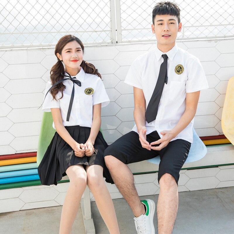 Short Skirts Japanese School Uniform Fashion Korean Style Kawaii Girl White Cosplay Graduation Shirt Clothing Middle School
