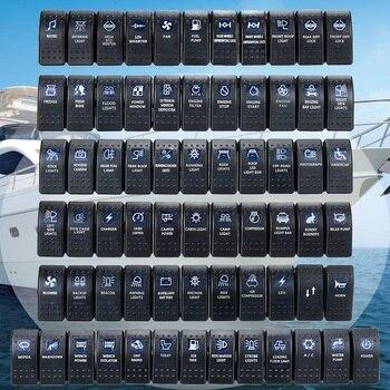 1 pçs 12 v 24 v carro barco caravana rocker switches à prova ddual água interruptor duplo azul conduziu a barra de luz 4x4