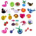10pcs/lot Mini Cute fanny toys Red Flamingo Floating Inflatable Drink Cup Holder Swimming Pool Bathing Beach Party Kids Toy Boia