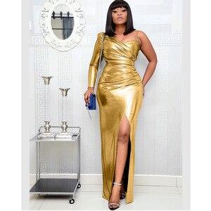 Image 2 - Vestidos africanos para mujer, nuevo superventas, Popular, colorido, bronce, Vestido largo de fiesta con cuello en V, vestido largo para chica más joven