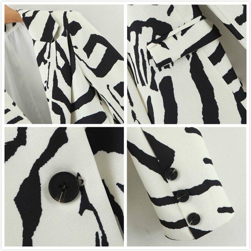 2020 Autumn Vintage Zebra Print Pants Suit Women Single Button Office Blazer Jacket Coat+Wide Leg Trousers Female Two Piece Set