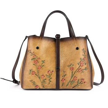 Nesitu New Vintage Brown Black Yellow Flower Pattern 100% Genuine Leather Women Handbag Shoulder Messenger Bags Tote Female M158