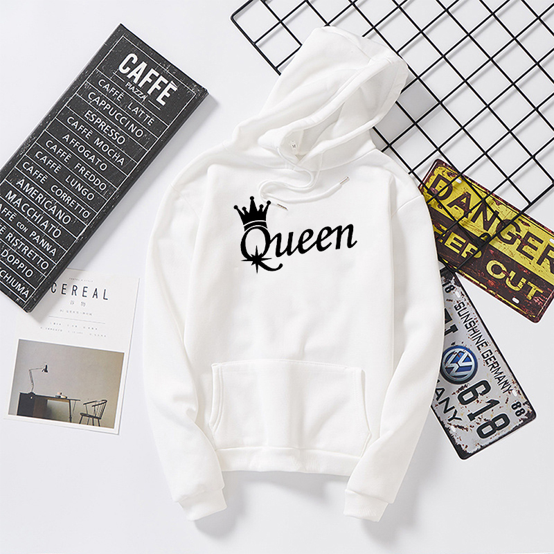 KING Queen Crown Print Men Women Streetwear Autumn Long Sleeve Hoodies Sweatshirt For Lovers Winter Hooded Pullovers Tops Hoody