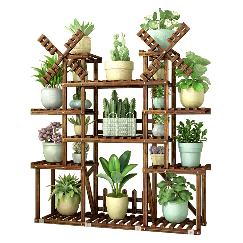 Room Built-in Rack Balcony A Living Room Iron Meat Solid Wood Anticorrosive Wood Multi-storey Landing Type Flowerpot Shelves