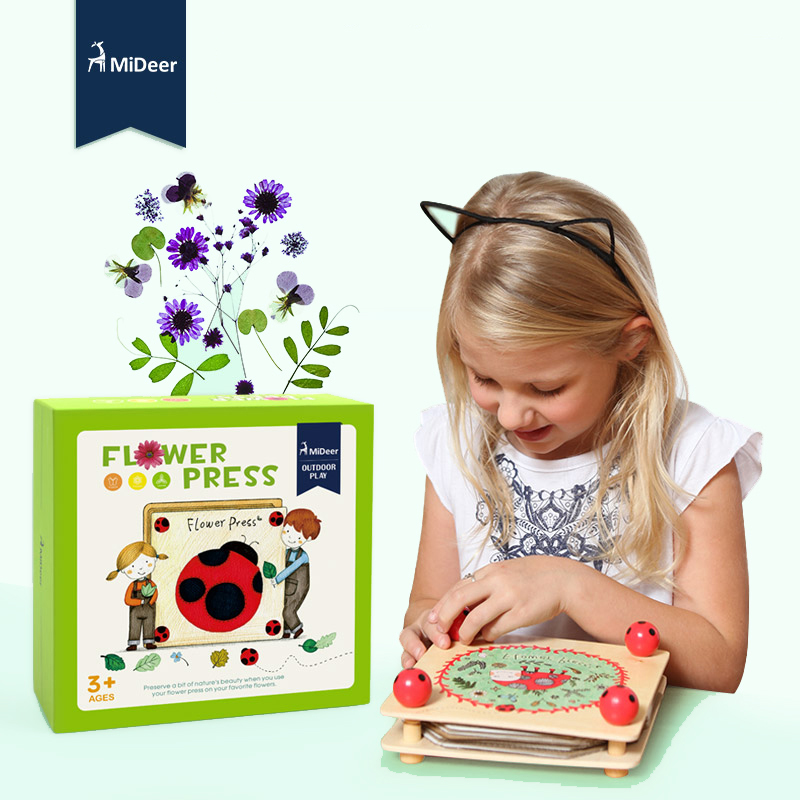 MiDeer Wooden Flower and Leaf Press Art Kit Outdoor Play Learning Educational Toy Children Kids Gift 3Y+