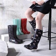 جديد أحذية المطر المرأة مطبوعة احذية المطر أنبوب عالية المضادة للانزلاق مقاومة للاهتراء أسفل الأحذية المياه عالية أعلى المطاط أحذية مضادة للماء