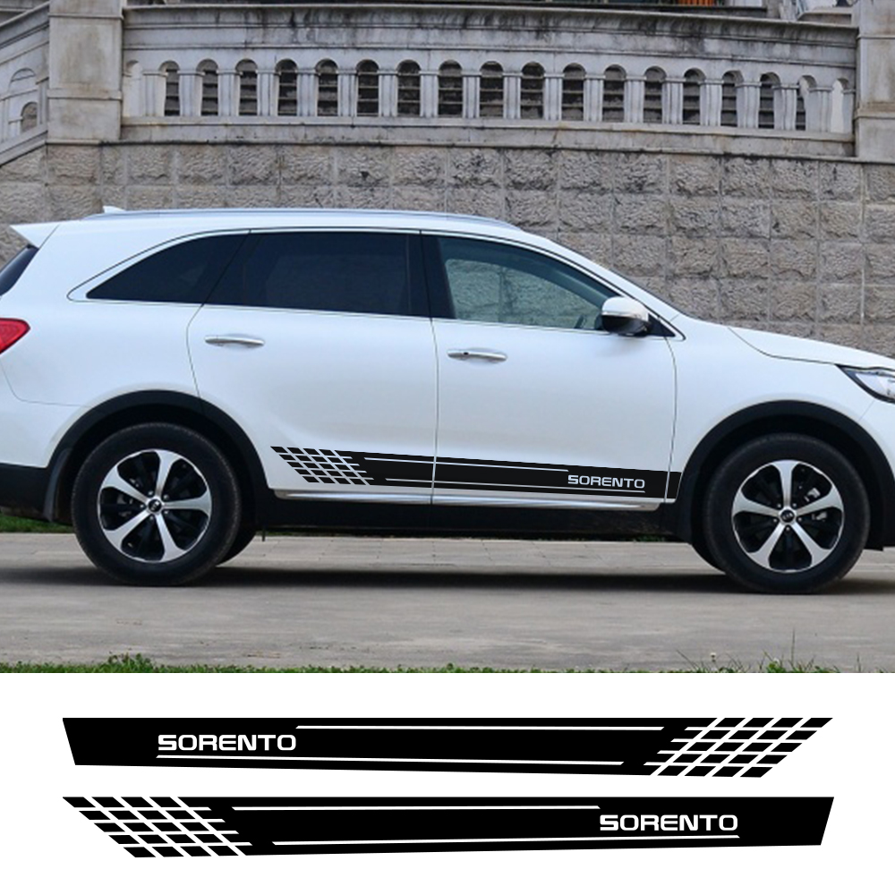 2PCS Auto Decor Door Side Skirt Stripes Car Stickers Vinyl Decal For Kia Sorento Reflective Waterproof Car Body Trim Accessories