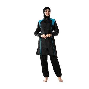 Image 4 - YONGSEN Mulheres Muçulmanos Swimwear Calças Encapuzados Burkinis Maiô Terno Esporte Moda Islâmica Hijab Três peça Elegante Beachwear