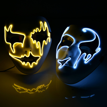 LED Halloween Mask Light Up Party Masks Glow In Dark Festival Horror Opera Ghost Masks Cosplay Dress Up Costume Supplies