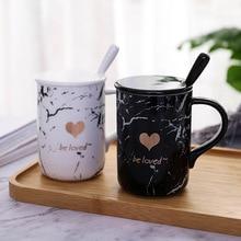 Be Loved  Modern Beautiful Ceramic Mug with Lid Spoon Tea Milk Coffee Cup Home Office School Lovers Mugcup