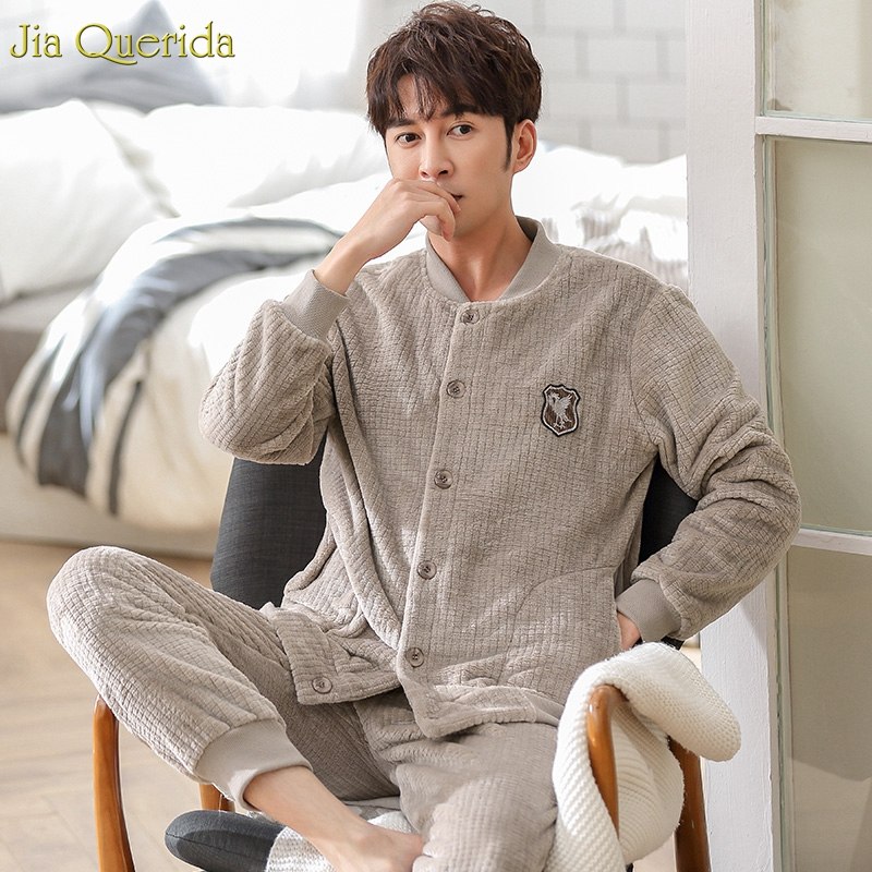 Mens Sleepwear Winter Pajamas Flannels Sporty Baseball Jacket Fashion Home Clothing Warm Fleece Pajamas Chinese Pajamas Flannel