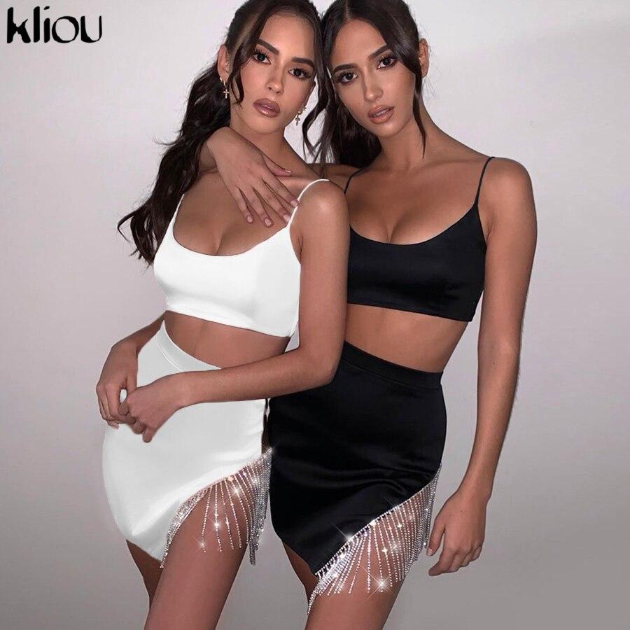 Kliou High Quality Black Slim Woman Two-piece Set 2020 Sleeveless Spaghetti Strap Crop Top+chain Tassel Decoration Mini Skirts
