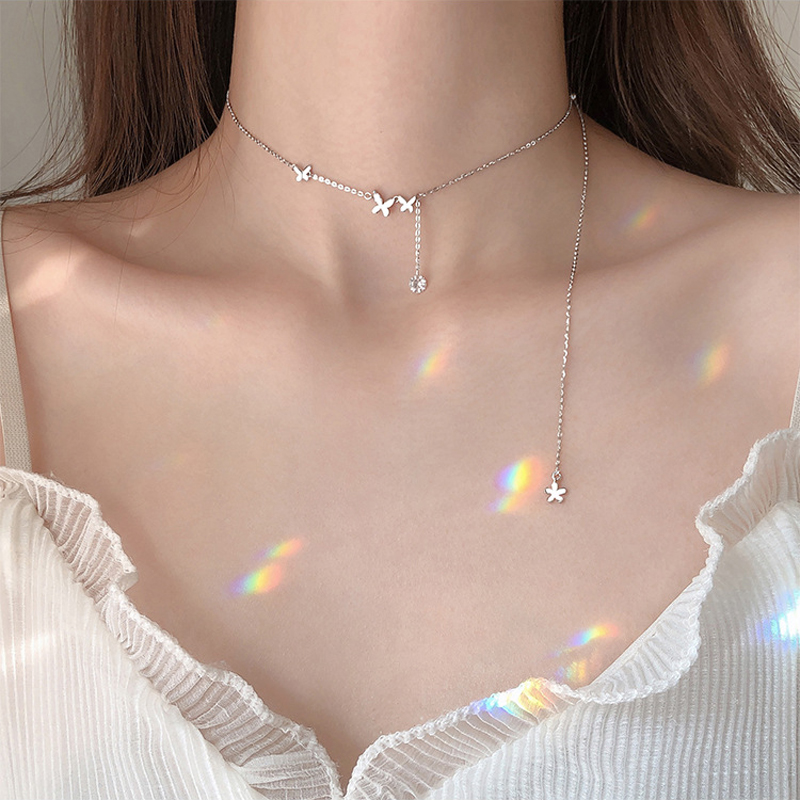 Shiny Zircon 925 Sterling Silver Necklace With Long Tassel Butterfly Choker Girl's Birthday Party Personality Simple Gift NK031