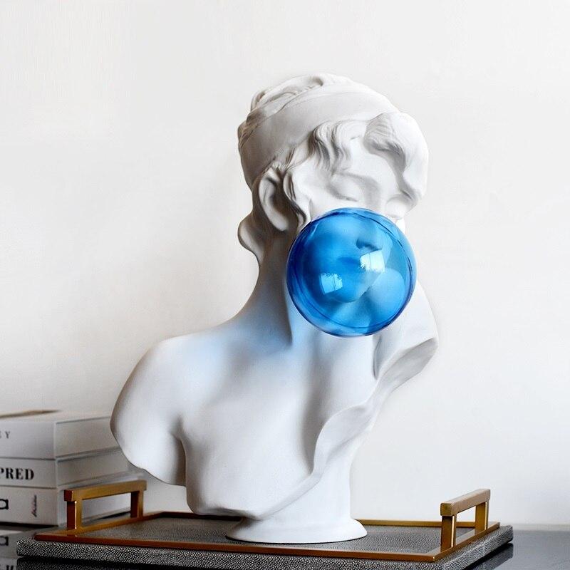 Roman Mythology Creative Blue Bubble Girl Figure Art Sculpture Venus Goddess Statue Resin Crafts Simple Home Decoration R4249