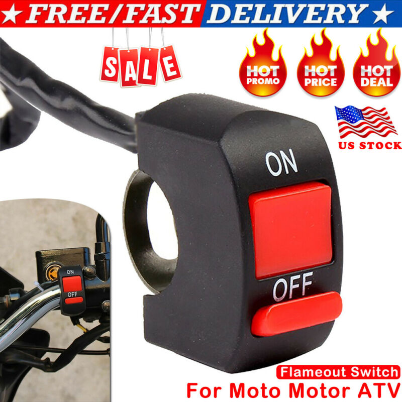 Universal Flameout Switch Motorcycle Handlebar ON OFF Button For Motor ATV US