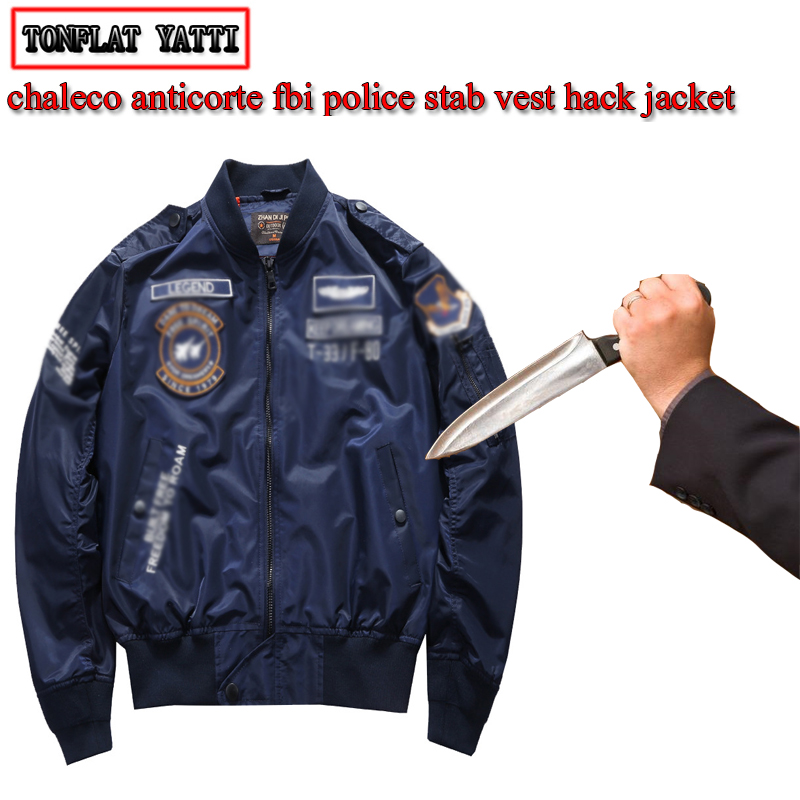 Self-defense Flight Style Stab-resistant Cut Men Jacket Urban Casual Invisible Ecurity Tactical Police Fbi Protective Clothin