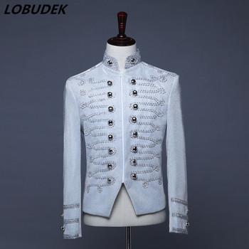 Silver Wire Embroidery White Jacket Double-breasted Button Court Uniform Stand Collar Coat Tide Male DJ Singer Stage Jackets