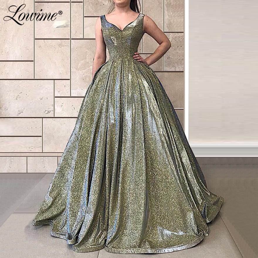 V Neck Puffy Prom Dresses A Line Vestidos Formal Robe De Soiree 2020 Vestidos De Fiesta De Noche Plus Size Party Dress Custom