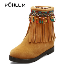 PUHLLM  Boots Hot Sale 2019 Winter Simple Wild Color Tassel National wind Short New Wind Increased BootsF21