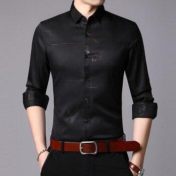Men's Shirt Men's Print Long Sleeve Shirt Men's Spring and Autumn New Men's Shirt Men's Business Casual Formal Shirt