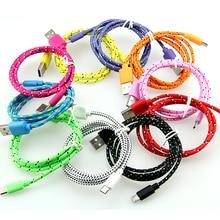 10 ชิ้น/ล็อตสีสันใหม่ 1M 2M 3Mผ้าไนล่อนBraided Micro USB CableสำหรับSamsungสำหรับBlackberryสำหรับHTCผ้าBraided Cable